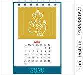desk calendar 2020 may ganesha  ... | Shutterstock .eps vector #1486380971