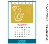 desk calendar 2020 december... | Shutterstock .eps vector #1486380977