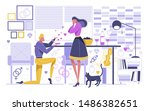 kneel man giving woman box... | Shutterstock .eps vector #1486382651
