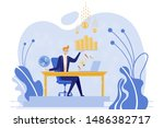 businessman sitting at table...   Shutterstock .eps vector #1486382717