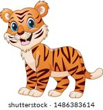 Smiling Tiger Cartoon Isolated...