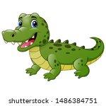 cute crocodile cartoon isolated ... | Shutterstock . vector #1486384751