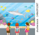 at aquarium  children looking... | Shutterstock .eps vector #1486391387