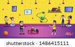 cartoon boys hold remote... | Shutterstock .eps vector #1486415111