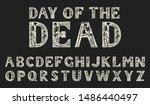 antique old font with skeletons ... | Shutterstock .eps vector #1486440497
