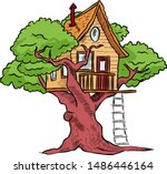 tree house for playing and... | Shutterstock .eps vector #1486446164