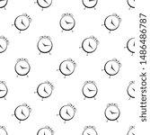 alarm clock icon seamless... | Shutterstock .eps vector #1486486787