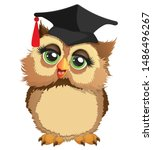 ute owl in a square academic... | Shutterstock .eps vector #1486496267