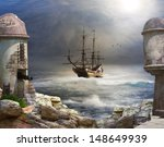 The Pirate bay, A pirate or merchant ship anchored in the bay of a fort.  - stock photo