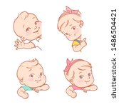baby girl and boy sitting on... | Shutterstock .eps vector #1486504421