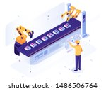 isometric robotic factory.... | Shutterstock .eps vector #1486506764