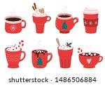 christmas holiday coffee mug.... | Shutterstock .eps vector #1486506884