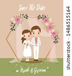 cute bride and groom under... | Shutterstock .eps vector #1486515164