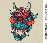 vintage colorful devil head... | Shutterstock .eps vector #1486545107