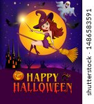happy halloween. halloween... | Shutterstock .eps vector #1486583591