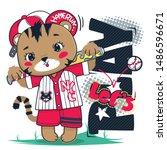 cute tiger baseball mascot with ... | Shutterstock .eps vector #1486596671