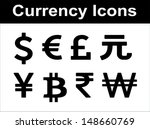 Stock vector currency icons set black over white background 148660769