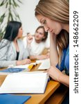 student female reading book  in ... | Shutterstock . vector #148662209