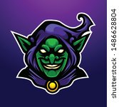 purple angry witch gold goblin... | Shutterstock .eps vector #1486628804