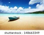 Boat On Beach Mahe Island ...