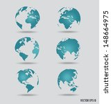 set of modern globes. vector... | Shutterstock .eps vector #148664975