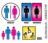 colorful toilet sign with... | Shutterstock .eps vector #148665749