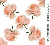 pink rose. vector illustration. ... | Shutterstock .eps vector #1486661777