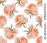 pink rose. vector illustration. ... | Shutterstock .eps vector #1486665224