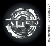 alien grey camouflaged emblem.... | Shutterstock .eps vector #1486681127