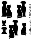 black isolated dog and cat silhouette on white background - stock vector