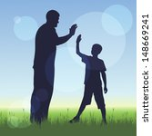 silhouette of man and a boy on... | Shutterstock .eps vector #148669241