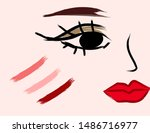 women makeup with lipstick. | Shutterstock .eps vector #1486716977