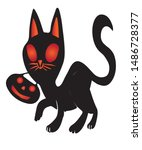 halloween black cat with... | Shutterstock .eps vector #1486728377