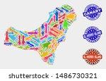 vector handmade combination of... | Shutterstock .eps vector #1486730321