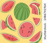 watermelon vector seamless... | Shutterstock .eps vector #1486741964