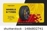 tire car advertisement poster.... | Shutterstock .eps vector #1486802741