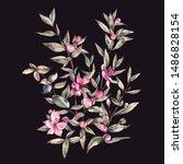 watercolor myrtle. vintage... | Shutterstock . vector #1486828154