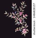 watercolor myrtle. vintage... | Shutterstock . vector #1486828157