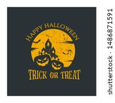 happy halloween vector design... | Shutterstock .eps vector #1486871591