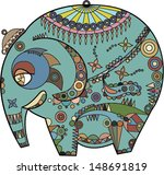 ornated multicolored elephant | Shutterstock .eps vector #148691819