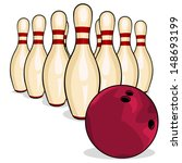 vector bowling pins and bowling ... | Shutterstock .eps vector #148693199