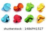 set of abstract flowing liquid... | Shutterstock .eps vector #1486941527