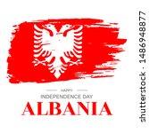 brush stroke flag of albania ... | Shutterstock .eps vector #1486948877