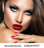 sexy beauty girl with red lips... | Shutterstock . vector #148695947