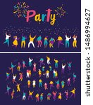 party people. large group of... | Shutterstock .eps vector #1486994627