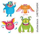 funny cartoon monsters set....   Shutterstock .eps vector #1487016404