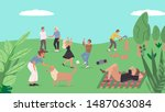 ollection of people relaxing... | Shutterstock .eps vector #1487063084