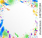 streamers and confetti. festive ... | Shutterstock .eps vector #1487065184