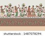 horizontal flower border on...   Shutterstock . vector #1487078294