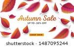 autumn sale digital poster ... | Shutterstock .eps vector #1487095244